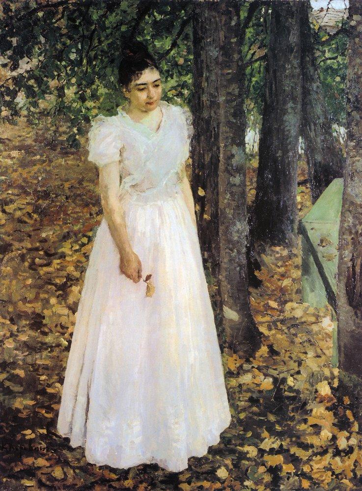 Галерея картин и рисунков художника Осенью.  Девушка в саду.  1891.