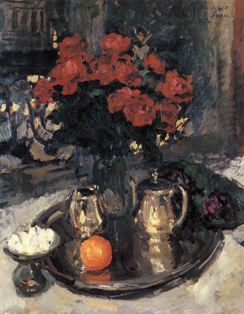 Константин Алексеевич Коровин. Розы и фиалки. 1912
